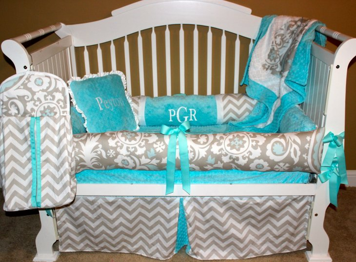 Turquoise baby bedding