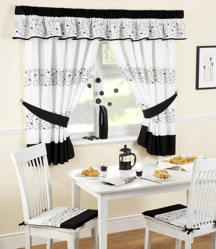 Black and white swag curtains