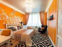 Оранжевые шторы — однотонные, полосатые и узорчатые яркие оформления окон (76 фото оформления)
