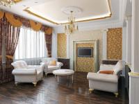 Натяжные потолки в гостиной: яркий принт и самые модные идеи сезона (69 фото)